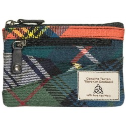 Quirky Tartan change/ credit card /key chain Purse with RFID
