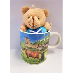 Scottish collage Mug With Teddy bear laser printed