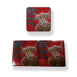 McMoo Highland Cattle Tartan Coaster Set