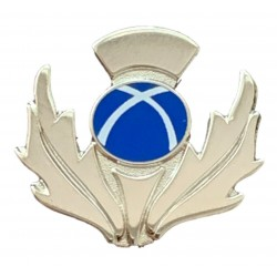 Scottish Saltire Thistle Shaped Pin Badge