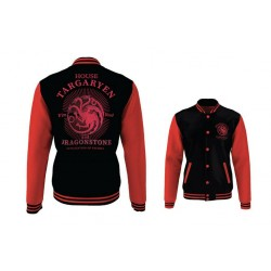 Game of Thrones House Targaryen Varsity Jacket Black-red (XXL)