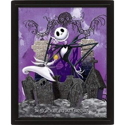 The Nightmare Before Christmas - Graveyard - 3D Framed Lenticular Picture 28 x 23 cm