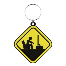 Gamer At Work Caution Sign Keyring Yellow