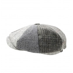 Heritage Patchwork Newsboy Cap - Grey Multi Colour