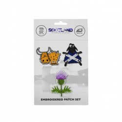 Scottish embroidered patch set coe sheep and thistle