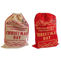 Festive Wonderland Large Hessian Sack - Assorted