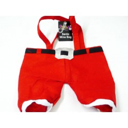 Christmas Santa Pants Wine Bottle Holder- Holds 2 Bottles