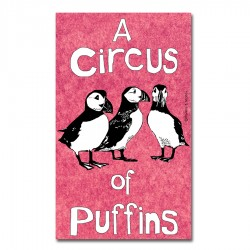 A Circus of Puffins Tea Towel