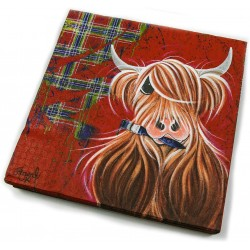 McMoo red tartan Highland Cow paper serviettes/napkins Pack of 20 Scottish Themed (1 supplied)