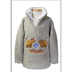 ''Hairy Coos Scotland' pebble embroidered fleece (6-7 Years)