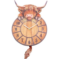 Highland Cow Tickin' Clock 25cm