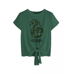 Harry Potter Woman's T-shirt - Slytherin Reverse Sequin - M