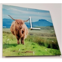 Highland Cow Glass Clock