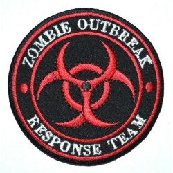 Embroidered Zombie Outbreak Response Team Patch Red Iron/Sew on