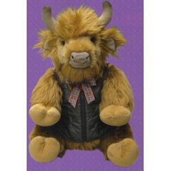 Large Highland Cow Soft Toy in Gilet