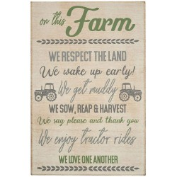 Family Farm Rules Wooden Plaque Sign - Wall Hanging Decoration