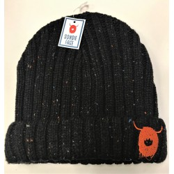 Knitted Navy Beanie Hat with Highland Cow Logo