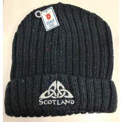 Knitted Blue Beanie Hat with Scotland Celtic Knot Logo