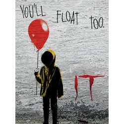 IT - Georgie Graffiti Canvas Print - You'll Float Too 60 x80cm