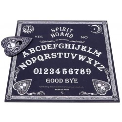Black and White Spirit Board with Planchette, MDF/Polyester, 38.5cm