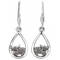 Sterling Silver Highland Cow Earrings