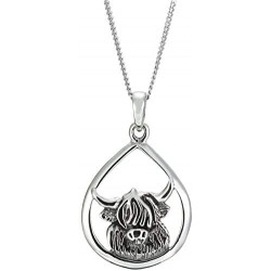 Sterling Silver Highland Cow Head Pendant Necklace