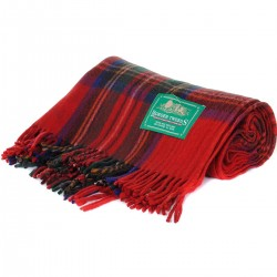 Classic 100% Wool Scottish Tartan Tweed Blankets Check Throws Travel Rugs (Royal Stewart)