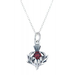 STERLING SILVER THISTLE SHAPE PENDANT NECKLACE WITH JANUARY BIRTH STONE