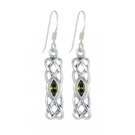 STERLING SILVER CELTIC BIRTHSTONE EARRINGS JEWELLERY MAY