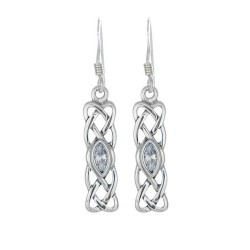 STERLING SILVER CELTIC BIRTHSTONE EARRINGS JEWELLERY APRIL