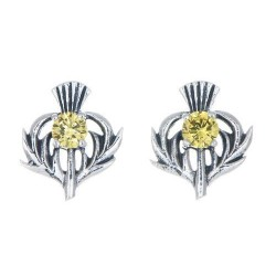 STERLING SILVER THISTLE BIRTHSTONE EARRINGS JEWELLERY NOVEMBER