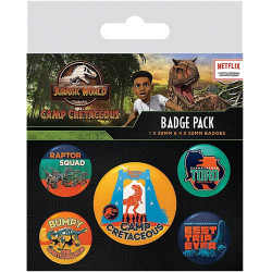 JURASSIC WORLD - Camp Cretaceous - Pack of 5 badges