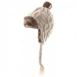 Knit Style Beige Trapper Hat With Faux Fur
