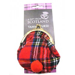 Scottish Royal Stewart Tartan Tammy Hat Coin Purse - Souvenir Made in Scotland