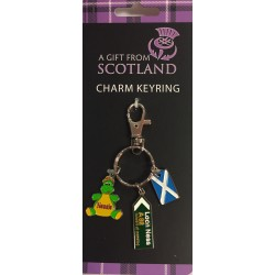 Nessie and Sign Post Charm Keyring