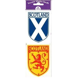 Scottish Car Sticker Twin Pack Saltire and Lion Rampant interior