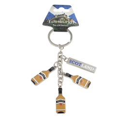 Scotland Metal Charm Keyring With Three Scotch Whisky