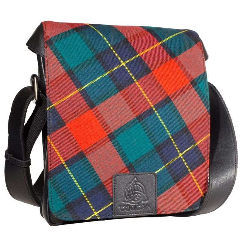 Genuine Leather and Genuine Tartan Cross Body Bag