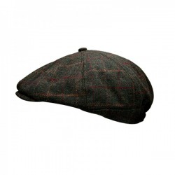 Peaky Stud Green Tweed Cap