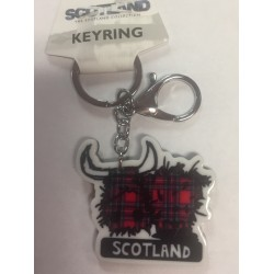 Red Highland Cow Acrylic Keyring