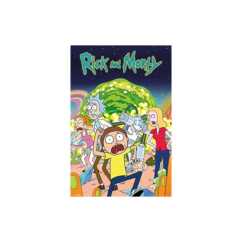 gb eye rick and morty group maxi poster wood various 61 x 91 5 cm. Black Bedroom Furniture Sets. Home Design Ideas
