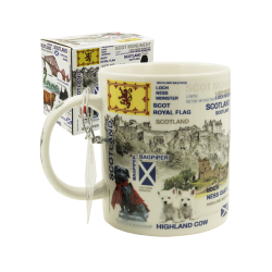 Scottish collage mug in box