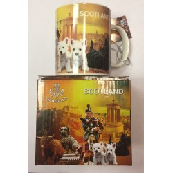 Scottish scottie and westie mug in box