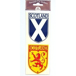 Scottish Car Sticker Twin Pack Saltire and Lion Rampant Exterior