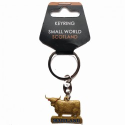 Highland cow metal keyring