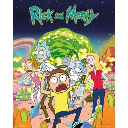 "GB eye ""Rick and Morty, Group"" Mini Poster, Multi-Colour, 40 x 50 cm"