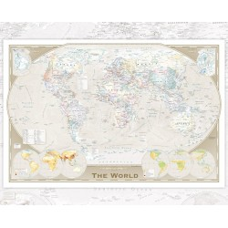 GB eye World Map Tripel Projection Mini Poster, Wood, Multi-Colour, 40 x 50 cm