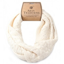 Aran Traditions Knitted Style Cable Design Snood, Cream Colour