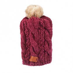 Aran Tradition Cable Knitted Raspberry Pom Pom Tammy Hat