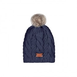 Aran Traditions Knitted Style Mixed Navy Tammy Hat With Faux Fur Bobble